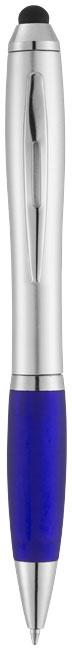 Strieborné guľôčkové pero a stylus Nash s farebným úchopom