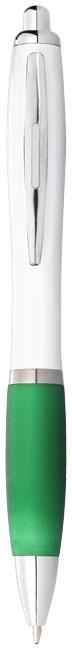 Biele guľôčkové pero Nash s farebným úchopom
